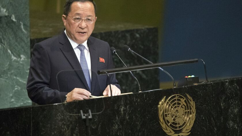 North Korean Foreign Minister Ri Yong Ho addresses the 73rd session of the United Nations General Assembly on Saturday.