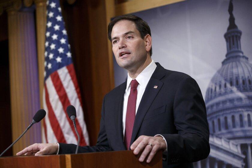 Sen. Marco Rubio (R-Fla.) speaks on Capitol Hill on Dec. 17, 2014.