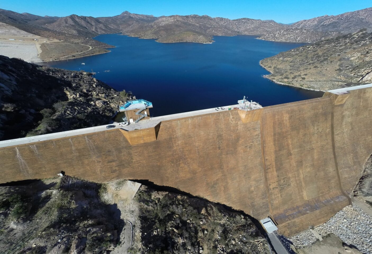 Aerial view of the San Vicente reservoir which is set to re-open in 2015, letting anglers and water sports enthusiasts return to the lake which was closed seven years ago for raising the height of the dam more than 100 feet.