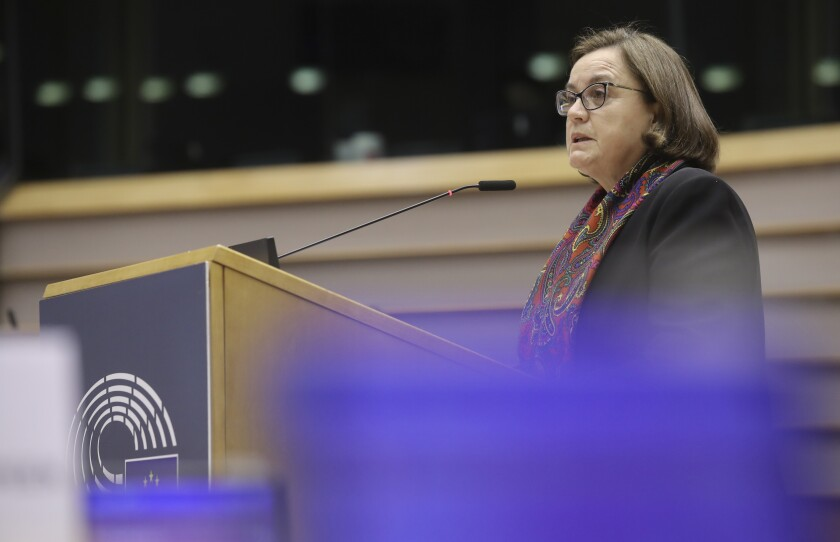 Portugal's European affairs secretary Ana Paula Zacarias speaks during a debate on a controversial near-total ban on abortion in Poland, during a plenary session at the European Parliament in Brussels, Tuesday, Feb. 9, 2021. (Olivier Hoslet, Pool via AP)