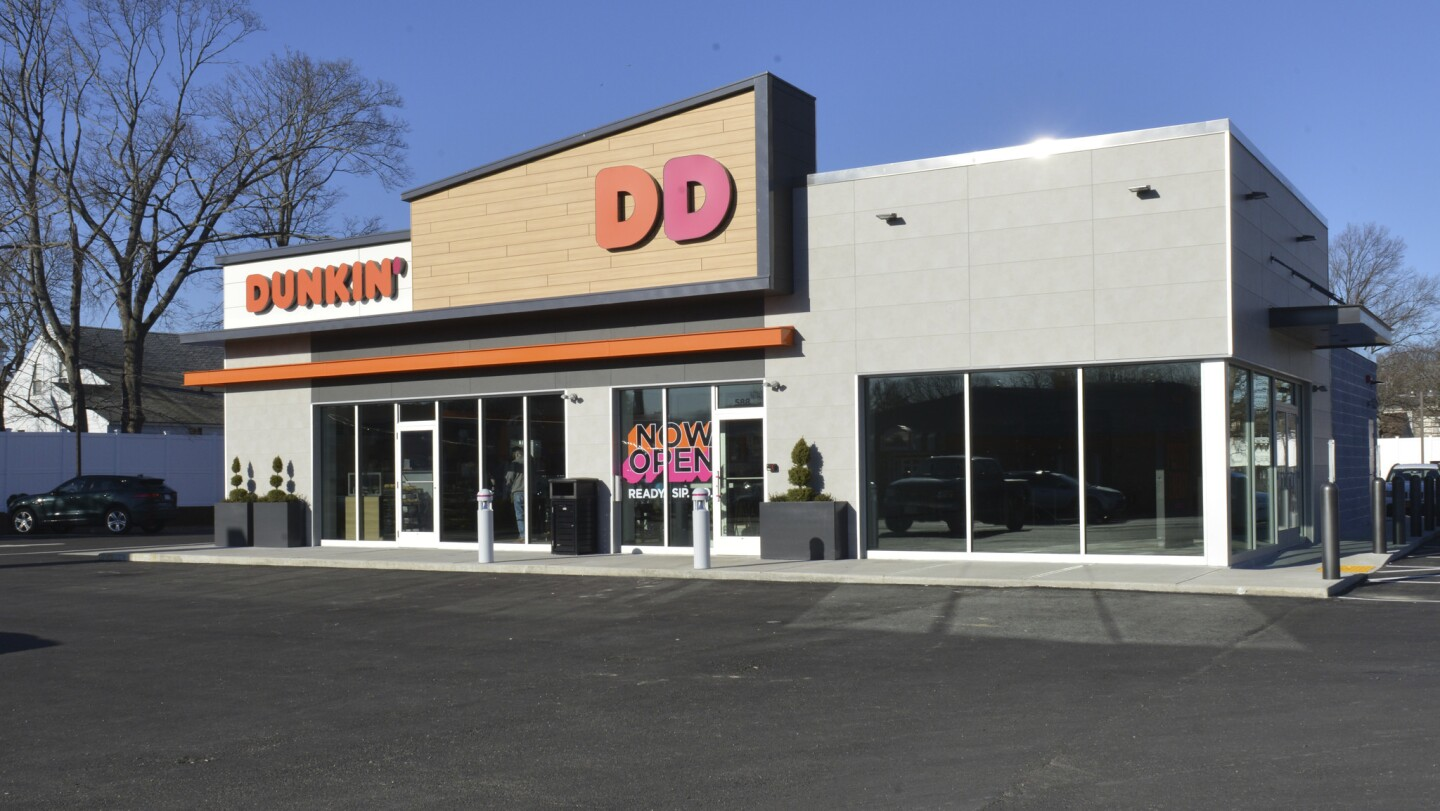 """Dunkin' Donuts """"next gen"""" stores, such as this store in Quincy, Mass., feature a brighter, more modern design, more grab-and-go options and more espresso-based drinks. They also test the popularity of Dunkin's cold beverages."""