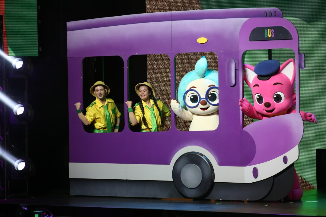 The show features pink fox Pinkfong, hedgehog Hogi and rangers.
