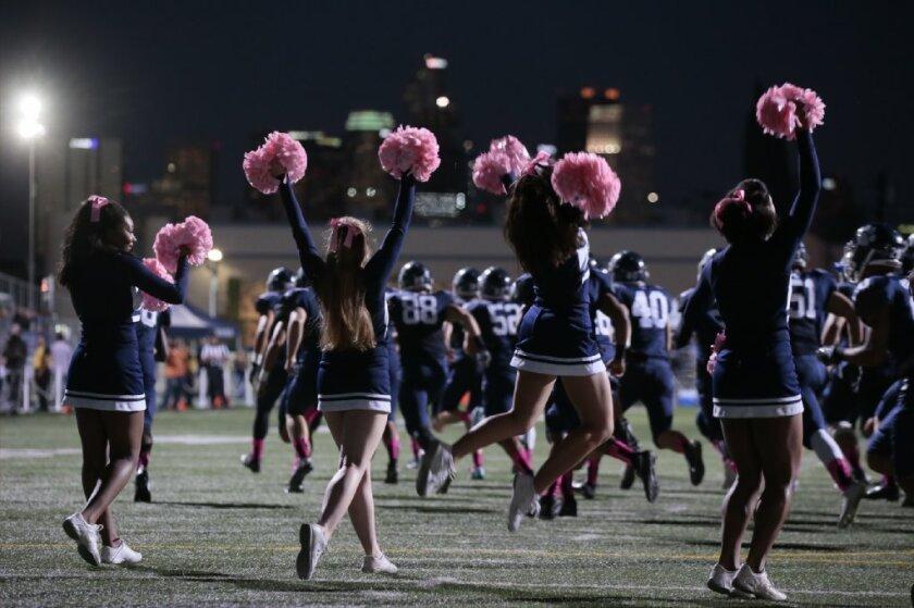Cheerleaders at Loyola football game last season.