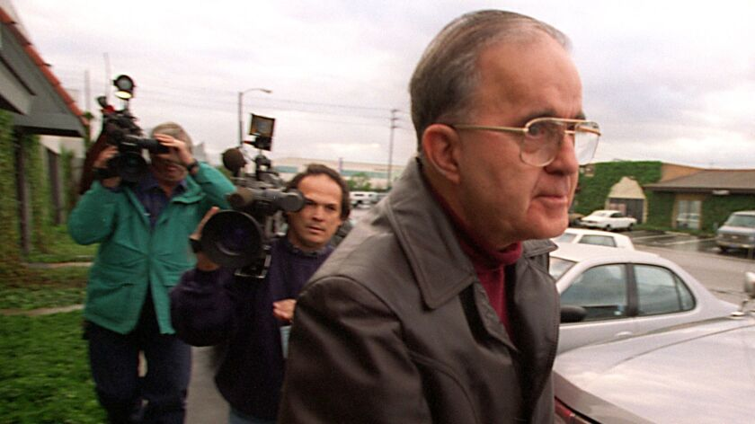 Robert Citron, a former Orange County treasurer who pleaded guilty to financial fraud, is shown outside a jail commissary in 1997.
