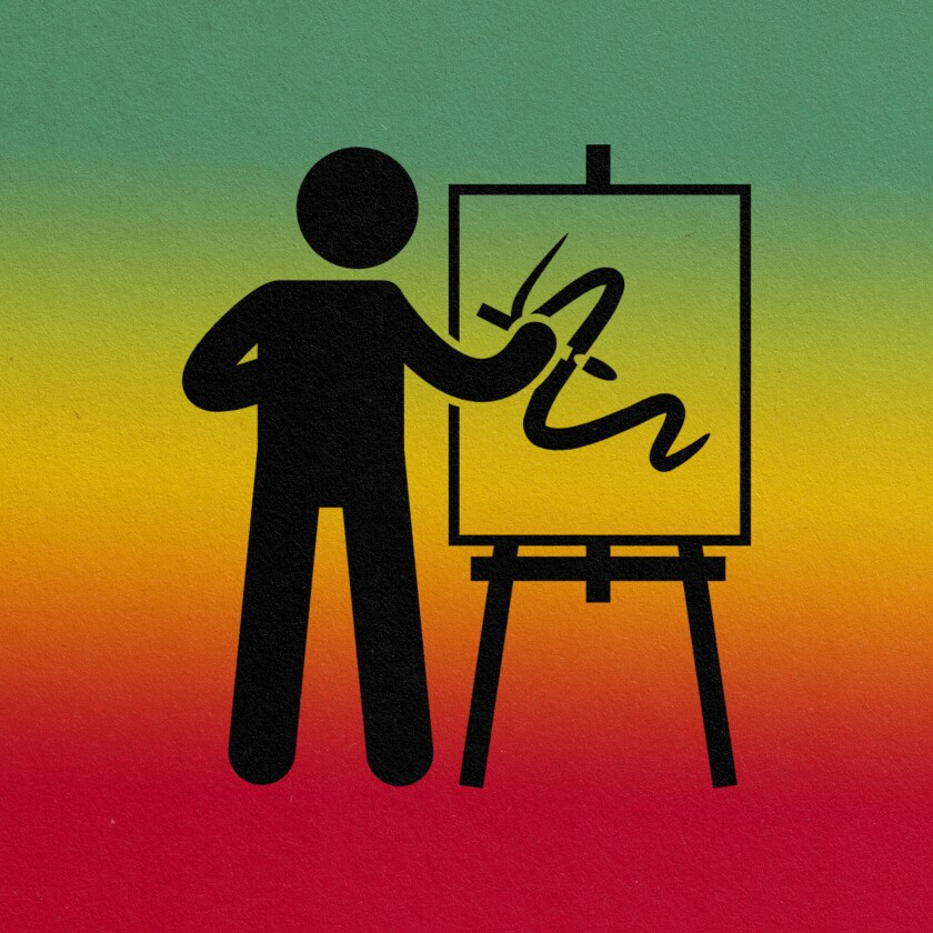 pictogram of an artist and easel.