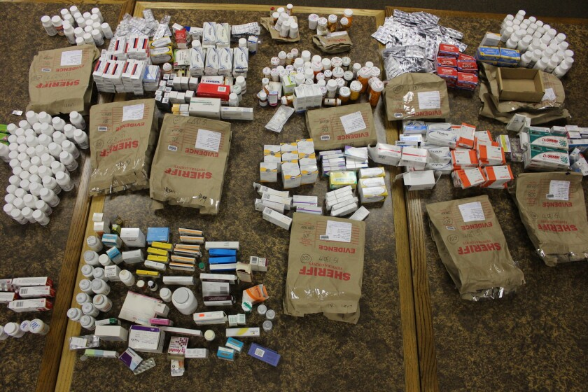 Medications and chemicals seized by investigators from a Northern California man's home and office.