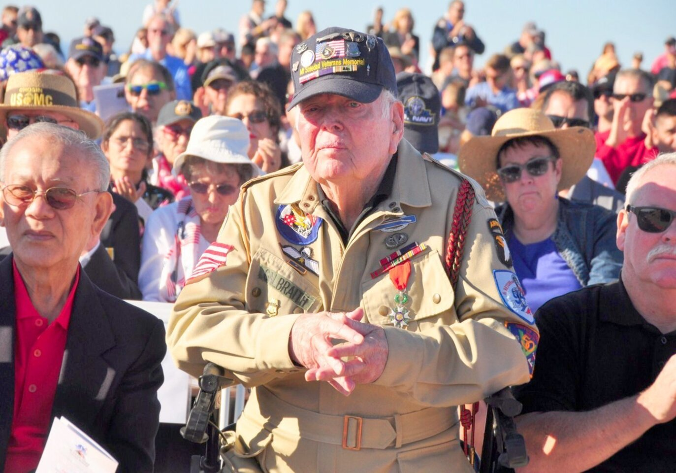 WWII Veteran Bill Galbraith of the 506th Parachute Infantry Regiment, 101st, was part of the invasion at Normandy, France. He attended the Veterans Day ceremony at Mt. Soledad National Veterans Memorial in La Jolla, Nov. 11, 2015.