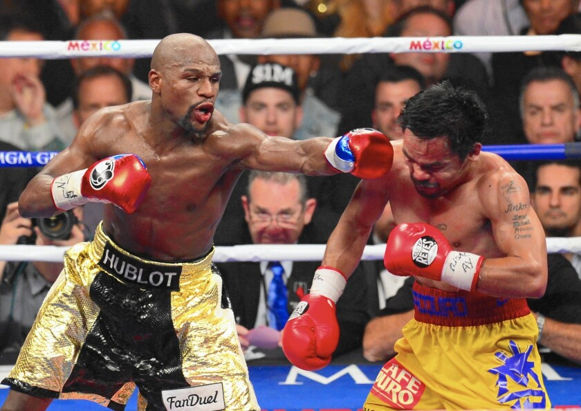 """Dubbed the """"Fight of the Century,"""" the match between Floyd Mayweather Jr. and Manny Pacquiao cost pay-per-view users $100. But smartphone apps such as Periscope and Meerkat allowed users to tune in for free."""
