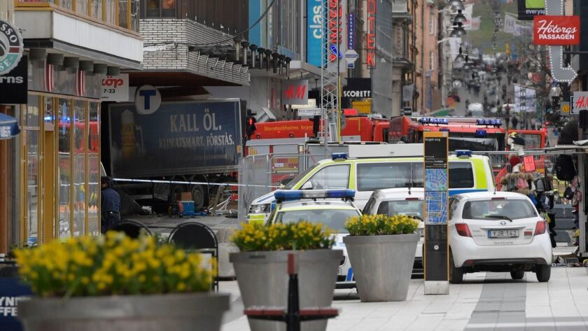 A truck crashed into a department store in central Stockholm on April 7, 2017. Rakmat Akilov was convicted Thursday in the attack that killed five people and wounded 14 others.
