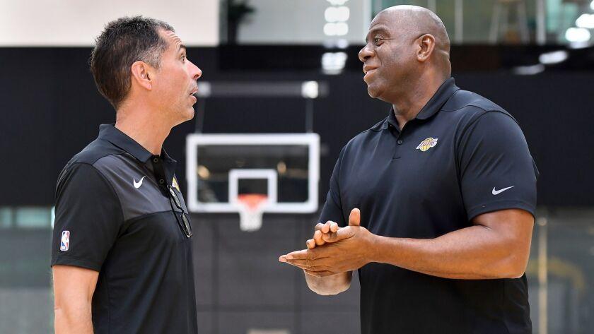 EL SEGUNDO, SEPTEMBER 20, 2018-Lakers General Manager Rob Pelinka, left, and President of Basketball
