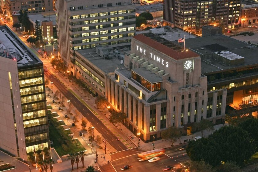 The Los Angeles Times headquarters in downtown Los Angeles