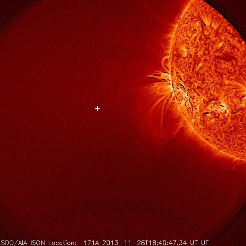 This image provided by NASA and taken by NASA's Solar Dynamics Observatory on Nov. 28, 2013, shows the sun, but no sign of comet ISON. During a meeting of the American Geophysical Union meeting on Tuesday, Dec. 10, 2013, scientists said the comet broke apart on Thanksgiving after coming close to the sun. (AP Photo/NASA)