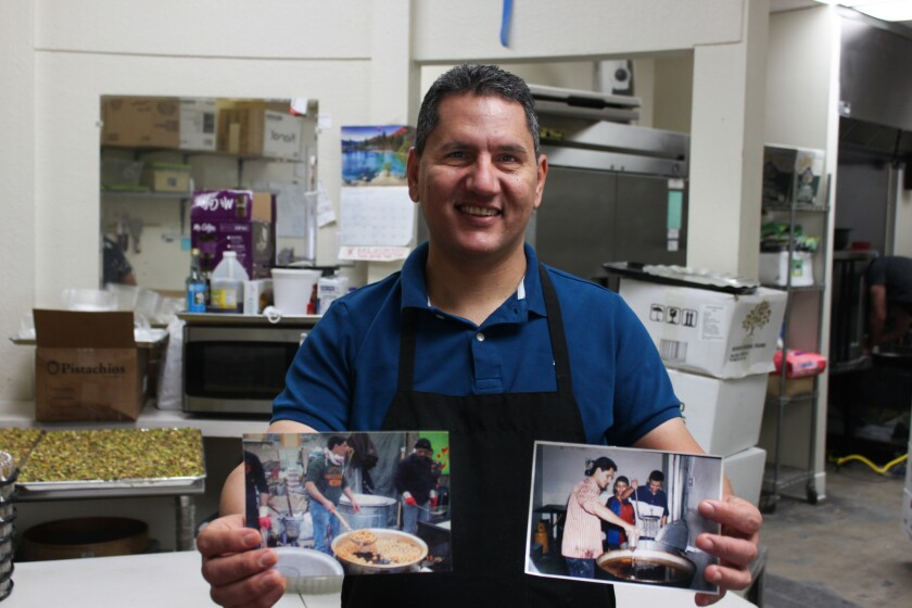 Nael Alnajjar comes from a long line of pastry chefs, and keeps photos of his old dessert shops in Iraq in a scrapbook in the Al Hamdani Sweets kitchen.
