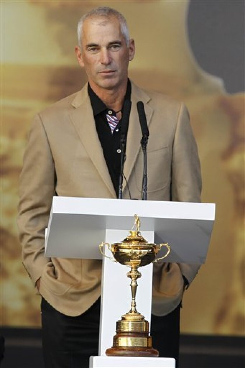 U.S. team captain Corey Pavin makes a speech during the presentation of the trophy after Europe won the 2010 Ryder Cup golf tournament at the Celtic Manor Resort in Newport, Wales, Monday, Oct. 4, 2010. (AP Photo/Jon Super)
