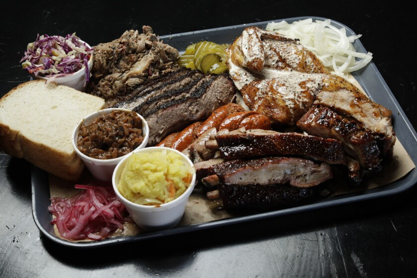 A barbecue platter at Slab.