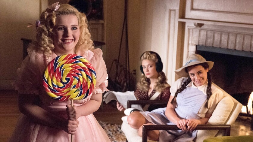 "Abigail Breslin, left, Billie Lourd and Lea Michele in ""Scream Queens"" on Fox."