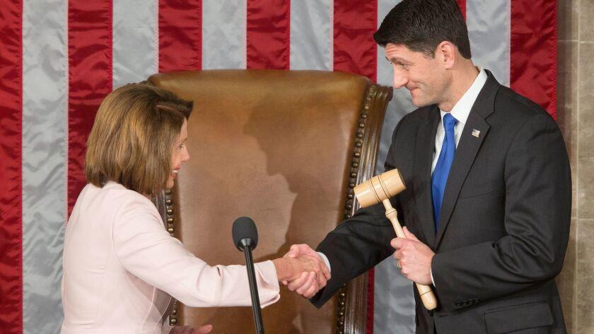 House Speaker Paul D. Ryan of Wisconsin with House Minority Leader Nancy Pelosi of California.