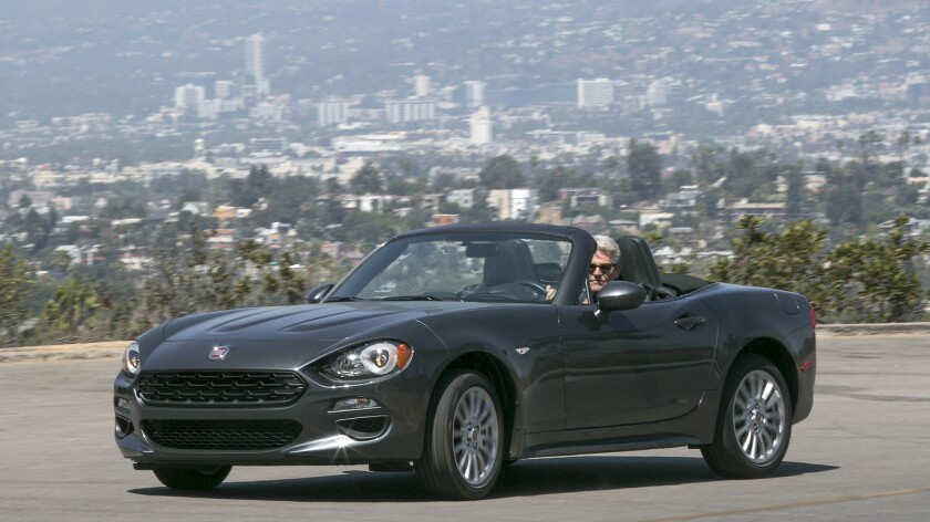 The 2017 Fiat 124 Spider brings classic roadster styling in a modern package. The 1.4-liter turbo engine delivers 160 horsepower and has a starting MSRP of $25,990.