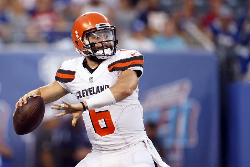 Quarterback Baker Mayfield and the Browns will be in the MNF spotlight against the Jets.