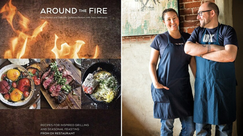 """The cover of """"Around the Fire""""; chefs and authors Gabrielle Quiñónez Denton and Greg Denton."""
