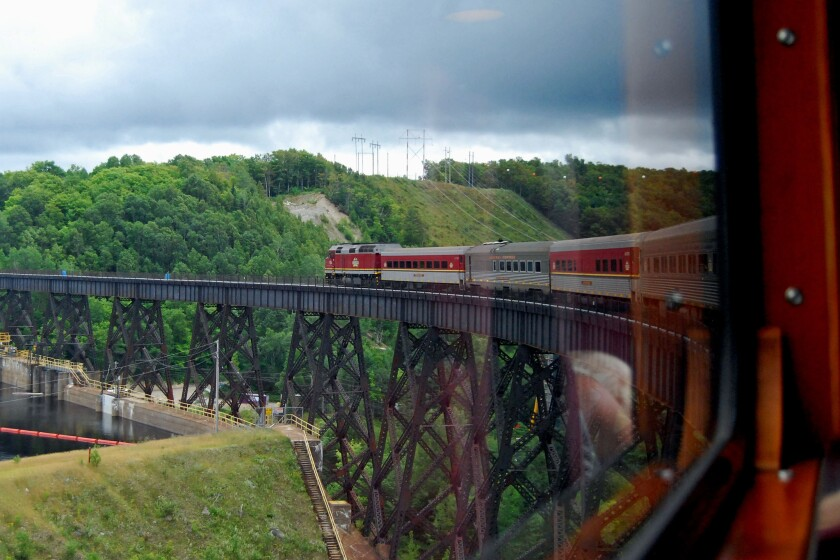 The curved trestle over the Montreal River offers views of a power plant and river -- and of our tra