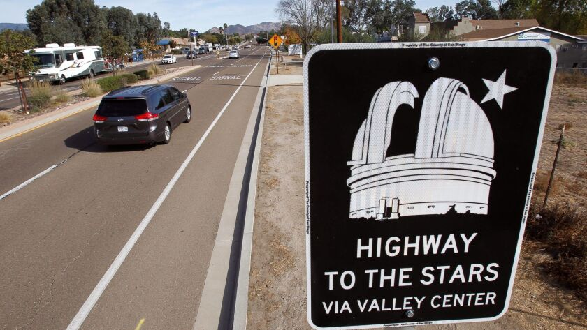 """VALLEY CENTER, November 21, 2017   A sign, one of five, saying """"Highway to the Stars via Valley Cen"""