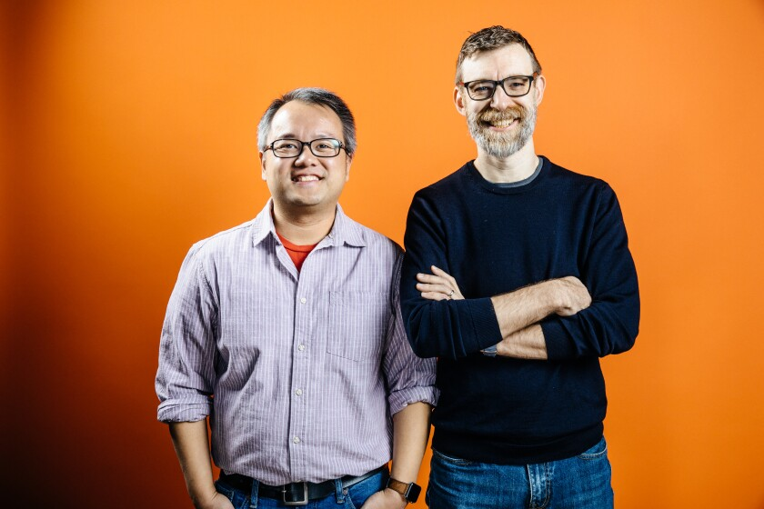 Playwright Qui Nguyen, left, and director Robert Ross Parker founded Vampire Cowboys 20 years ago.
