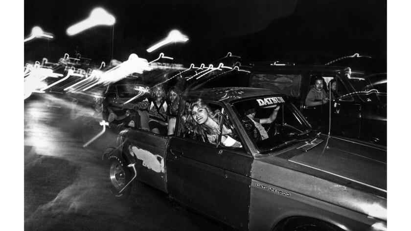 June 15, 1986: Truckload of young women on McHenry Avenue in Modesto during annual Graffiti Night cruising event.