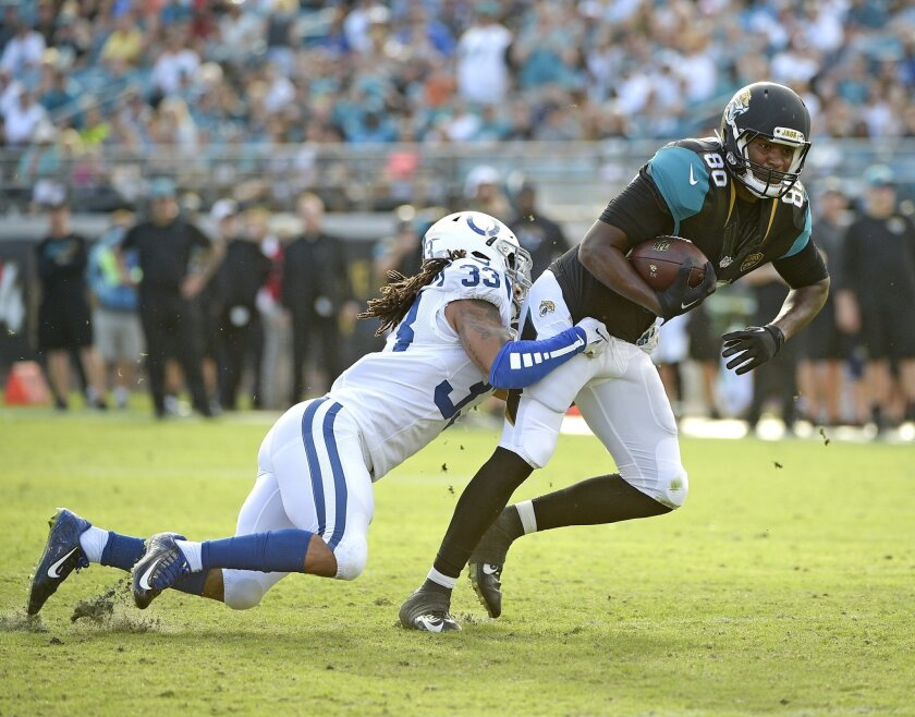 Jacksonville Jaguars tight end Julius Thomas (80) is stopped by Indianapolis Colts free safety Dwight Lowery (33) after a reception during the second half of an NFL football game in Jacksonville, Fla., Sunday, Dec. 13, 2015. Jacksonville won 51-16. AP Photo/Phelan M. Ebenhack)