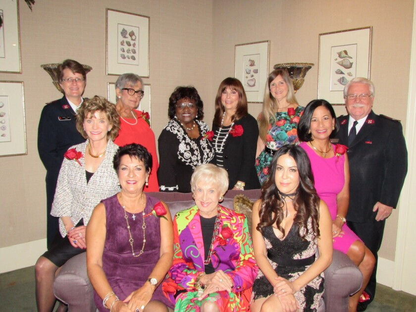 Seated: Susan Hoehn, Nayda Locke, Sally Fuller, Yolanda Selene Walther-Meade, Dee Ammom. Standing: Salvation Army Major Jeanne Baker, Evangeline Sharpe, Rosemary White Pope, Joani Wafer, Olga Worm and Major George Baker. Not pictured: Norma Jones, Caroline Nierenberg, Tracy Lyon