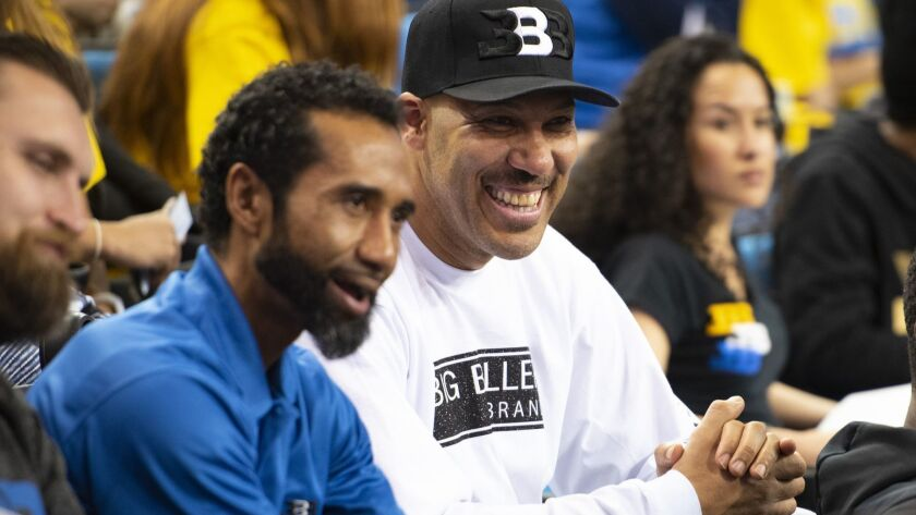 LOS ANGELES, CA - MARCH 01: UCLA guard Lonzo Ball dad LaVar Ball looks on with Big Baller Brand co-f