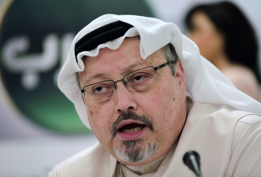 FILE - In this Dec. 15, 2014 file photo, Saudi journalist Jamal Khashoggi speaks during a press conference in Manama, Bahrain. A Turkish newspaper says in his final words, slain Saudi journalist Jamal Khashoggi urged his killers not to cover his mouth because he suffered from asthma and could suffocate. The Sabah newspaper on Tuesday, Sept. 10, 2019 published new excerpts of a recording of Khashoggi's conversation with members of a Saudi hit squad sent to kill him. (AP Photo/Hasan Jamali, File)