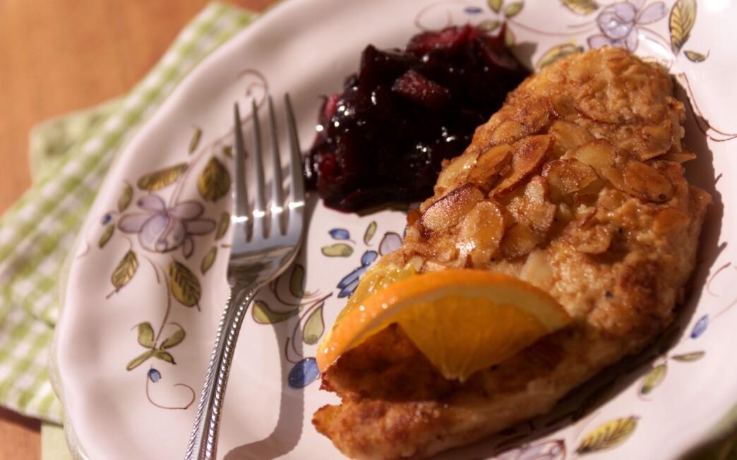 Orange Almond Chicken With Blueberry Chutney