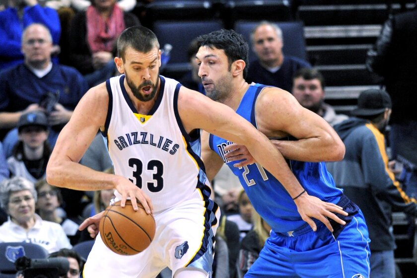 Memphis Grizzlies center Marc Gasol (33) controls the ball against Dallas Mavericks center Zaza Pachulia (27) in the first half of an NBA basketball game,Tuesday, Nov. 24, 2015, in Memphis, Tenn. (AP Photo/Brandon Dill)