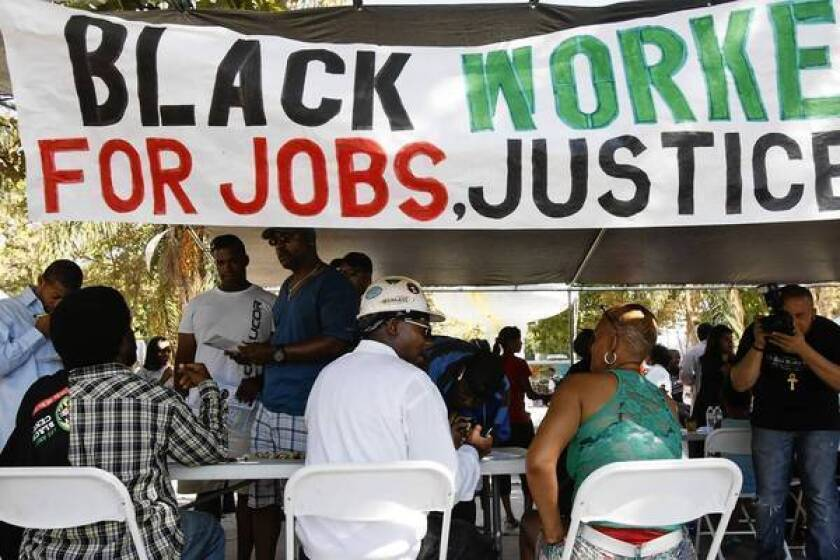 The Ready to Work Rally on Saturday in Leimert Park highlighted the need for jobs for minority workers. Many are applying for work building the 8.5-mile Crenshaw rail line.