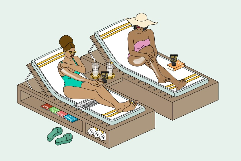 An illustration of two Black women putting on sunscreen.