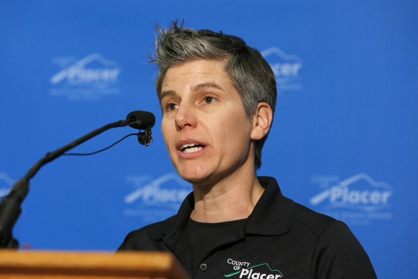 Placer County Public Health Officer Dr. Aimee Sisson, seen here in March, has resigned.