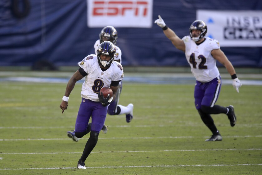Ravens QB Lamar Jackson hurt the Tennessee Titans running and passing Sunday in victory at Nissan Stadium in Nashville.