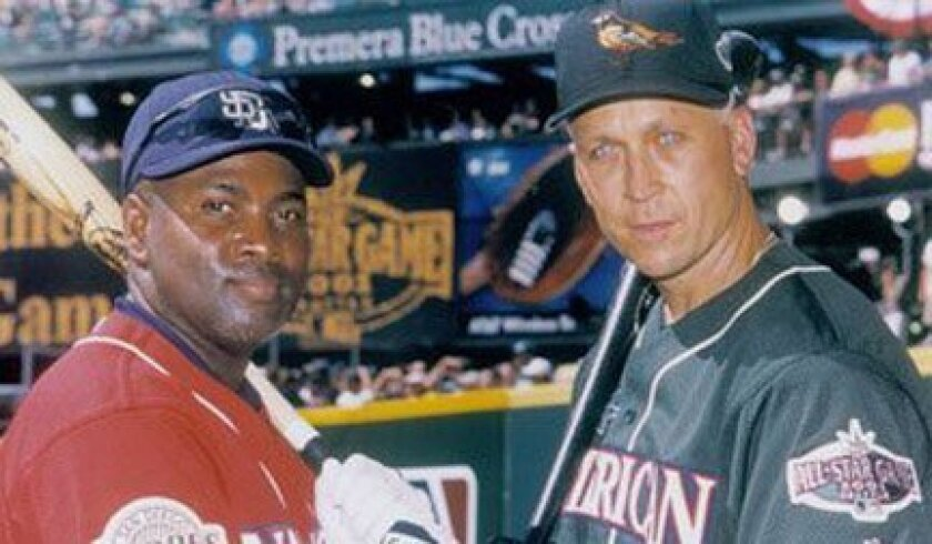 The Padres' Tony Gwynn and the Orioles' Cal Ripken were honored at the 2001 All-Star Game in Seattle after announcing they would be retiring at season's end.
