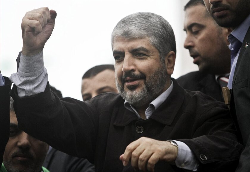 Exiled Hamas leader Khaled Meshaal attends the 25th anniversary of Hamas in Gaza City on Dec. 8.