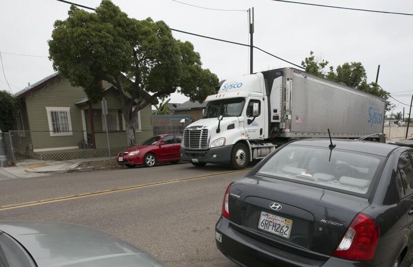 An 18 wheeler made it's way down 26th street in the Barrio Logan neighborhood of San Diego.