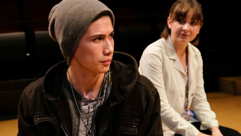 """Ramon Villa, left, and Meg Stoll Tron in Cassandra Hsiao's """"Fire Hazard,"""" one of four plays getting a full production at Playwrights Project's 33rd Plays By Young Writers Festival at The Old Globe."""