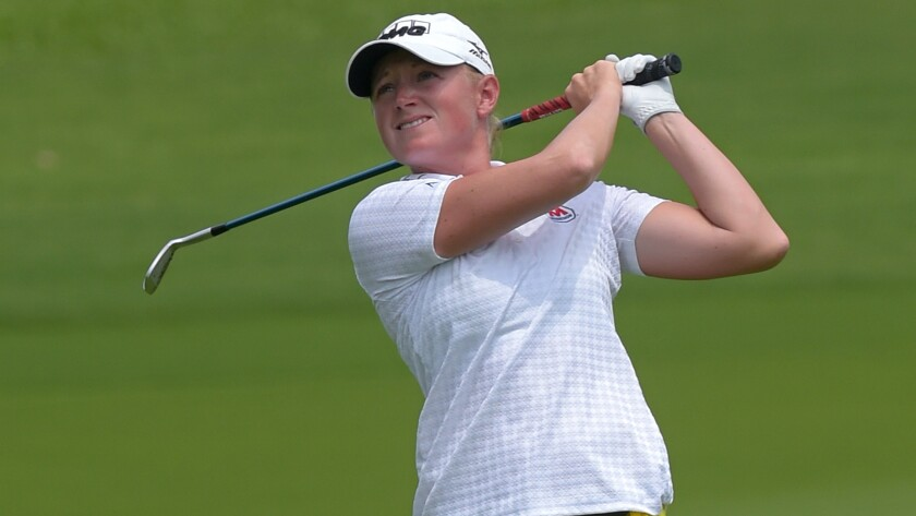 Stacy Lewis plays a shot during the third round of the LPGA Thailand Open on Saturday.