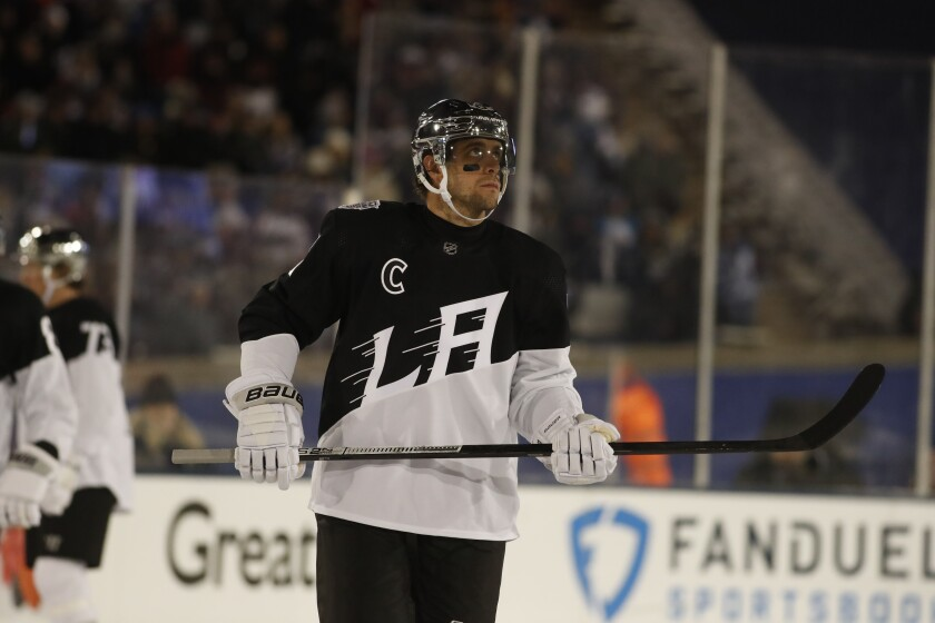 Kings center and captain Anze Kopitar during an outdoor game.