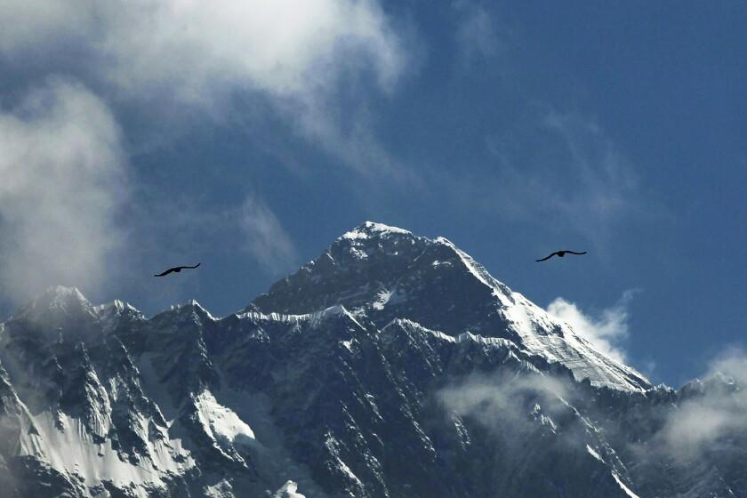 Fotografía de archivo del 27 de mayo de 2019 de aves volando con el Monte Everest al fondo visto desde Namche Bajar.