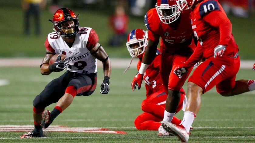 San Diego State running back D.J. Pumphrey moved into the top 10 in career rushing yards against Fresno State. The 220 yards he gained against the Bulldogs pushed Pumphrey's career total to 5,383 yards.