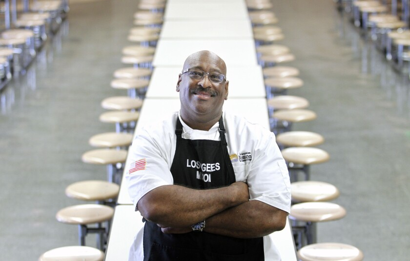 Chris Cormier, Director of Food Services at the Los Angeles Mission in downtown Los Angeles, oversees the serving of 1,200 to 1,800 meals a day.