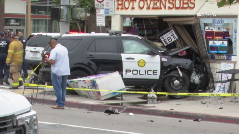 Several people were injured Wednesday morning in a collision that sent a San Diego Community College District police SUV slamming into a deli in Barrio Logan.