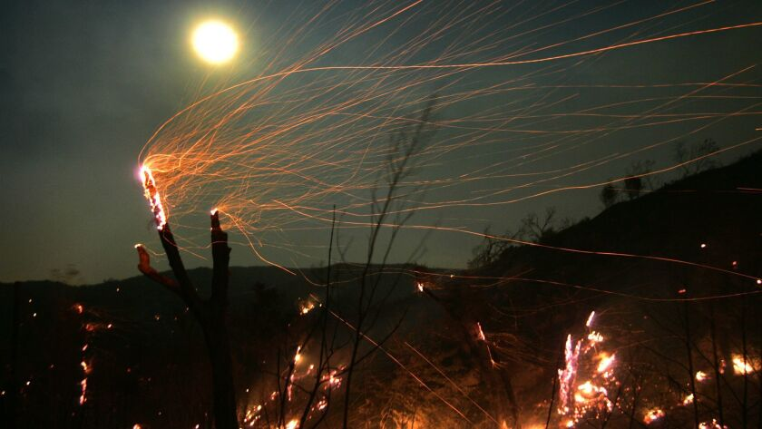 Blowing embers helped fuel the Witch fire that burned thousands of acres and hundreds of homes in San Diego County in 2007.