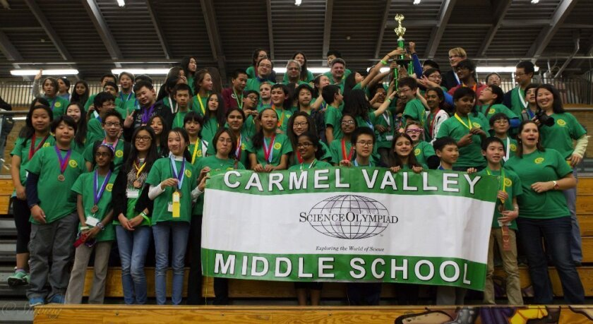 Carmel Valley Science Olympiad team members celebrate their victory.
